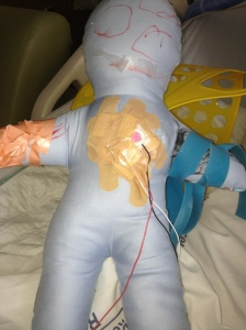 4 year old Child with asthma made this doll to represent the feeling not being able to breathe.